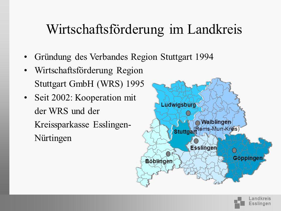 Landkreis Esslingen Wirtschaftsförderung im Landkreis Gründung des Verbandes Region Stuttgart 1994 Wirtschaftsförderung Region Stuttgart GmbH (WRS) 19