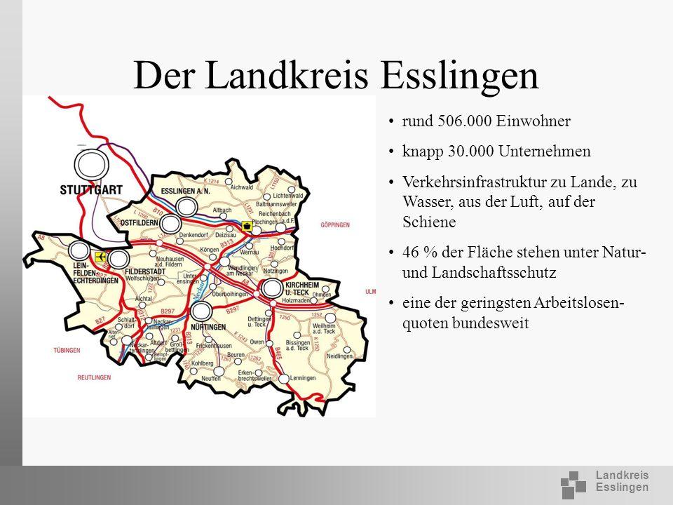 Landkreis Esslingen Der Landkreis Esslingen rund 506.000 Einwohner knapp 30.000 Unternehmen Verkehrsinfrastruktur zu Lande, zu Wasser, aus der Luft, a