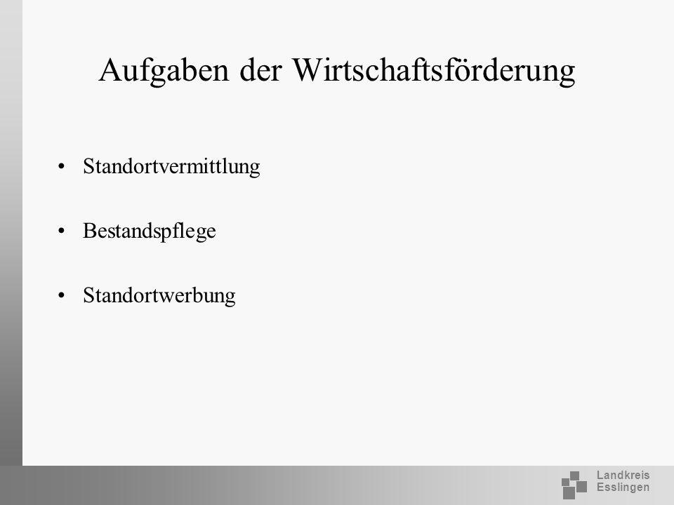 Landkreis Esslingen Aufgaben der Wirtschaftsförderung Standortvermittlung Bestandspflege Standortwerbung