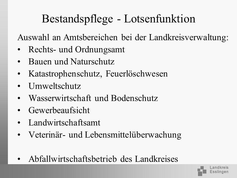 Landkreis Esslingen Bestandspflege - Lotsenfunktion Auswahl an Amtsbereichen bei der Landkreisverwaltung: Rechts- und Ordnungsamt Bauen und Naturschut