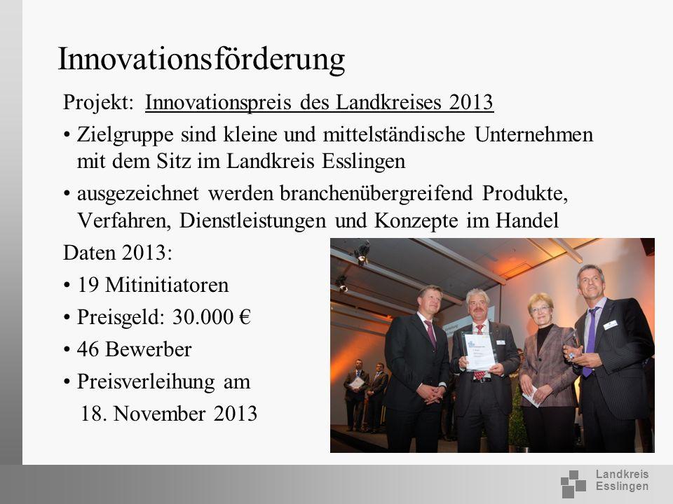 Landkreis Esslingen Innovationsförderung Projekt: Innovationspreis des Landkreises 2013 Zielgruppe sind kleine und mittelständische Unternehmen mit de