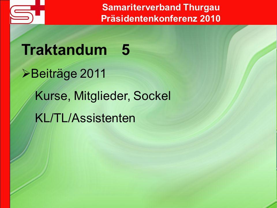 Samariterverband Thurgau Präsidentenkonferenz 2010 Traktandum 5 Beiträge 2011 Kurse, Mitglieder, Sockel KL/TL/Assistenten