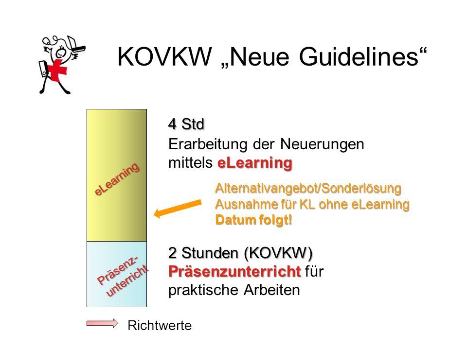 KOVKW Neue Guidelines 4 Std Erarbeitung der Neuerungen eLearning mittels eLearning Alternativangebot/Sonderlösung Ausnahme für KL ohne eLearning Datum folgt.
