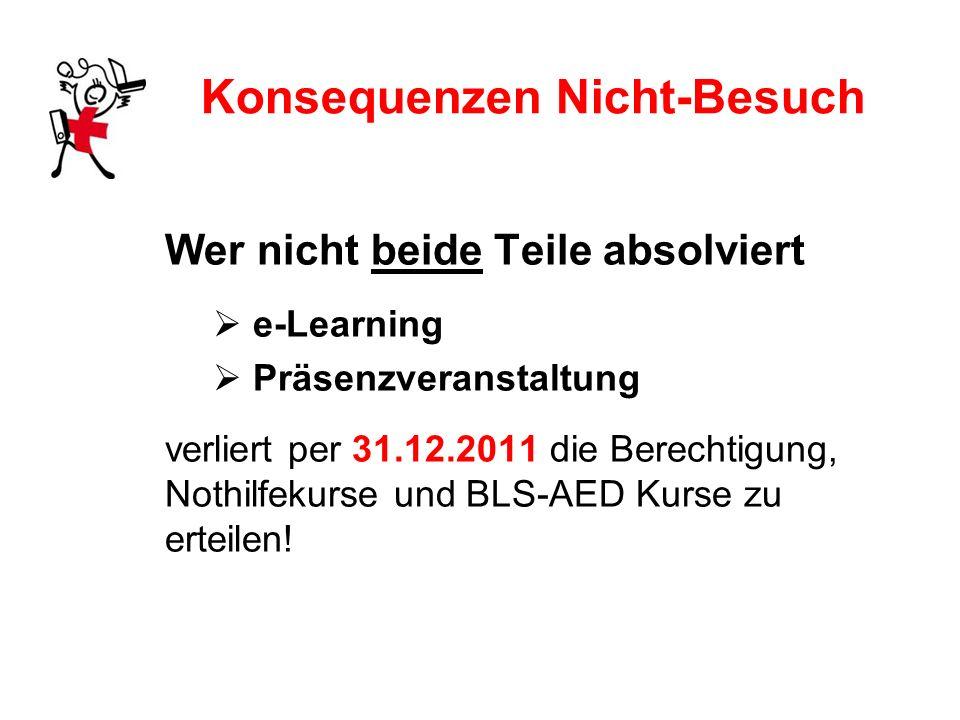Konsequenzen Nicht-Besuch Wer nicht beide Teile absolviert e-Learning Präsenzveranstaltung verliert per 31.12.2011 die Berechtigung, Nothilfekurse und BLS-AED Kurse zu erteilen!