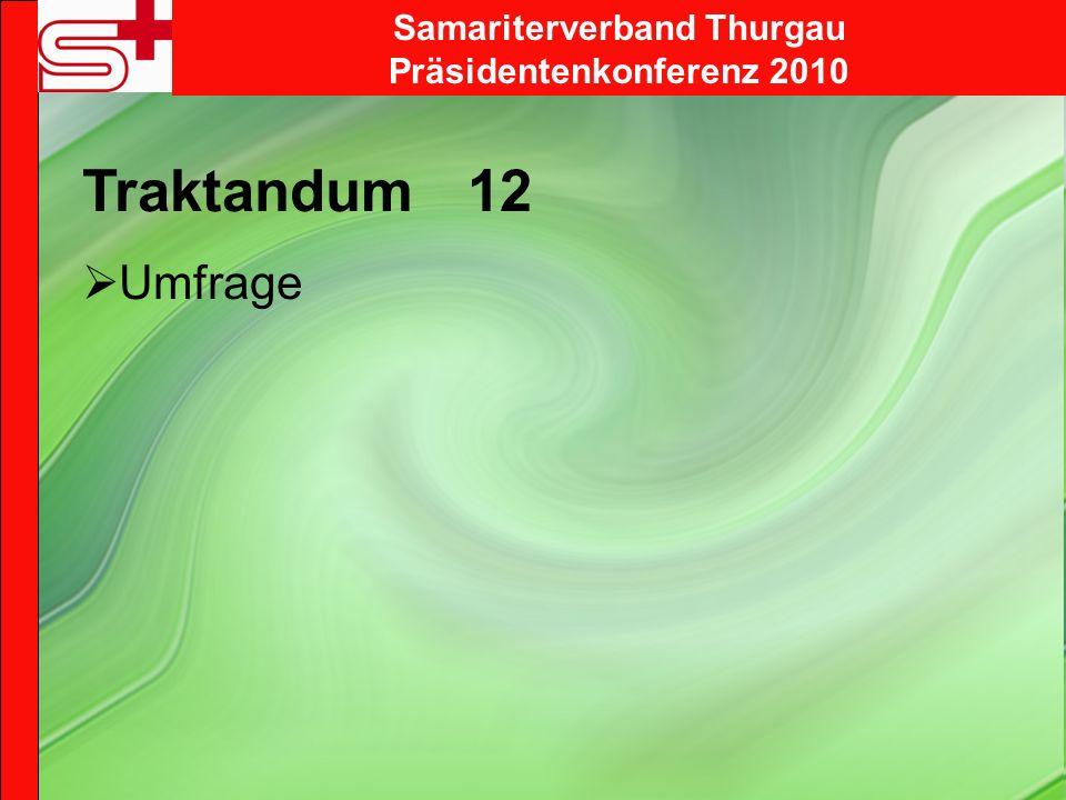 Samariterverband Thurgau Präsidentenkonferenz 2010 Traktandum 12 Umfrage