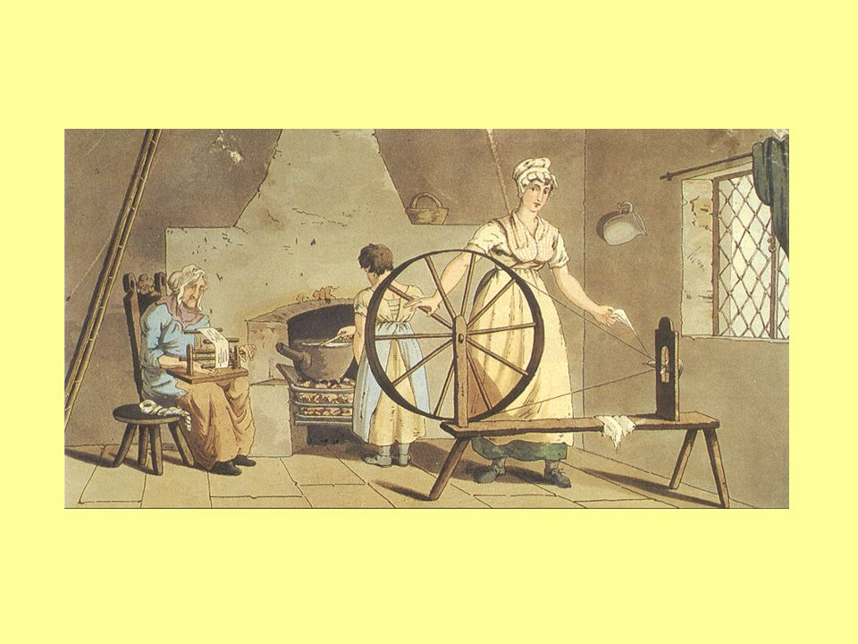 A woman spinning by hand in her own home in the eighteenth century