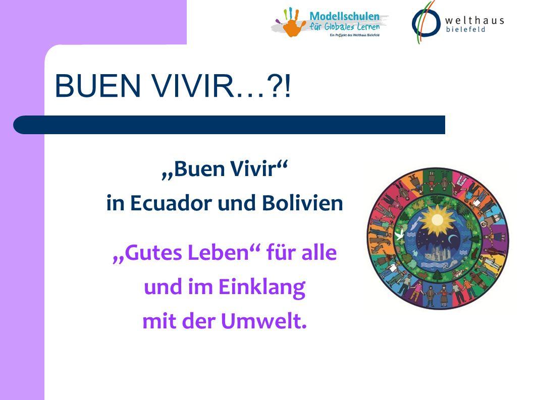 Buen Vivir in Ecuador und Bolivien Gutes Leben für alle und im Einklang mit der Umwelt. BUEN VIVIR…?!