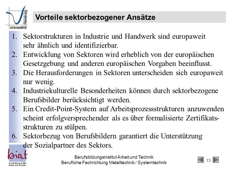 13 Berufsbildungsinstitut Arbeit und Technik Berufliche Fachrichtung Metalltechnik / Systemtechnik Vorteile sektorbezogener Ansätze 1.Sektorstrukturen