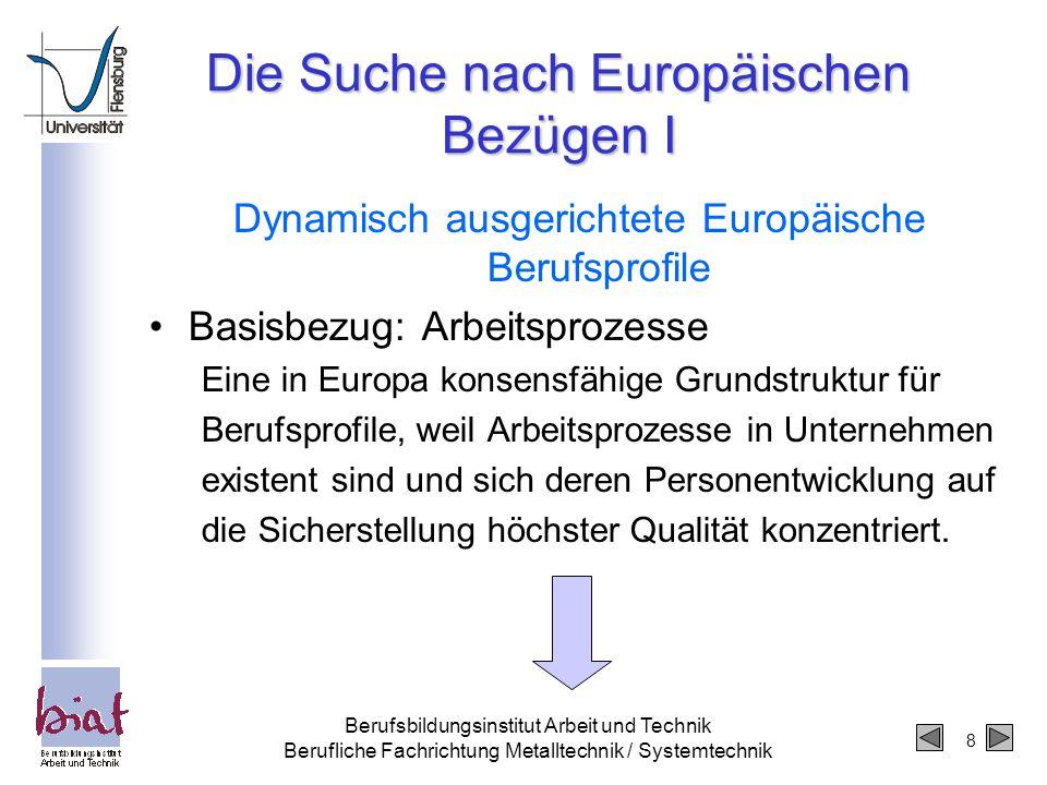 8 Berufsbildungsinstitut Arbeit und Technik Berufliche Fachrichtung Metalltechnik / Systemtechnik Die Suche nach Europäischen Bezügen I Dynamisch ausg