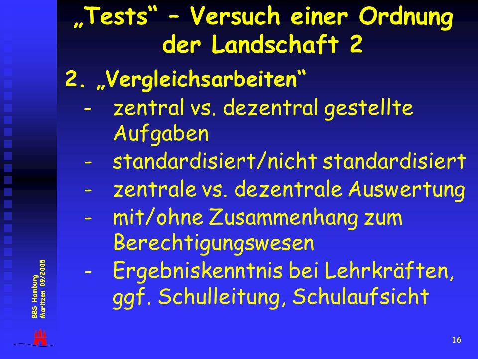 16 2. Vergleichsarbeiten -zentral vs. dezentral gestellte Aufgaben - standardisiert/nicht standardisiert - zentrale vs. dezentrale Auswertung - mit/oh