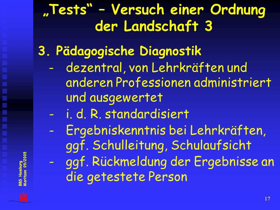 17 3. Pädagogische Diagnostik -dezentral, von Lehrkräften und anderen Professionen administriert und ausgewertet - i. d. R. standardisiert - Ergebnisk