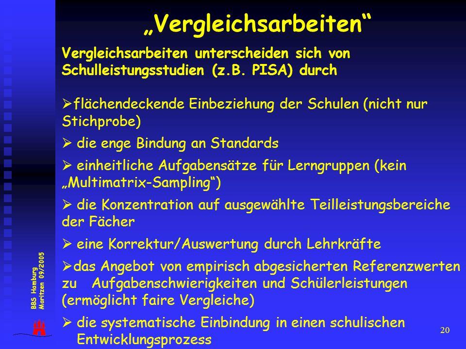 20 Vergleichsarbeiten BBS Hamburg Maritzen 09/2005 Vergleichsarbeiten unterscheiden sich von Schulleistungsstudien (z.B. PISA) durch flächendeckende E