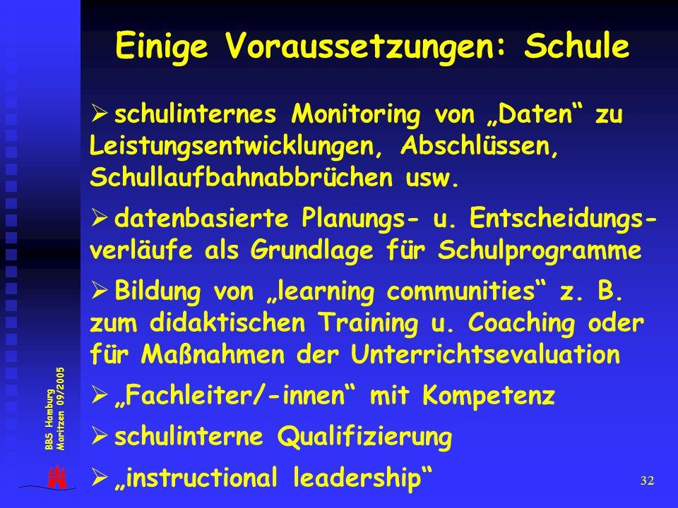 32 Einige Voraussetzungen: Schule schulinternes Monitoring von Daten zu Leistungsentwicklungen, Abschlüssen, Schullaufbahnabbrüchen usw. datenbasierte