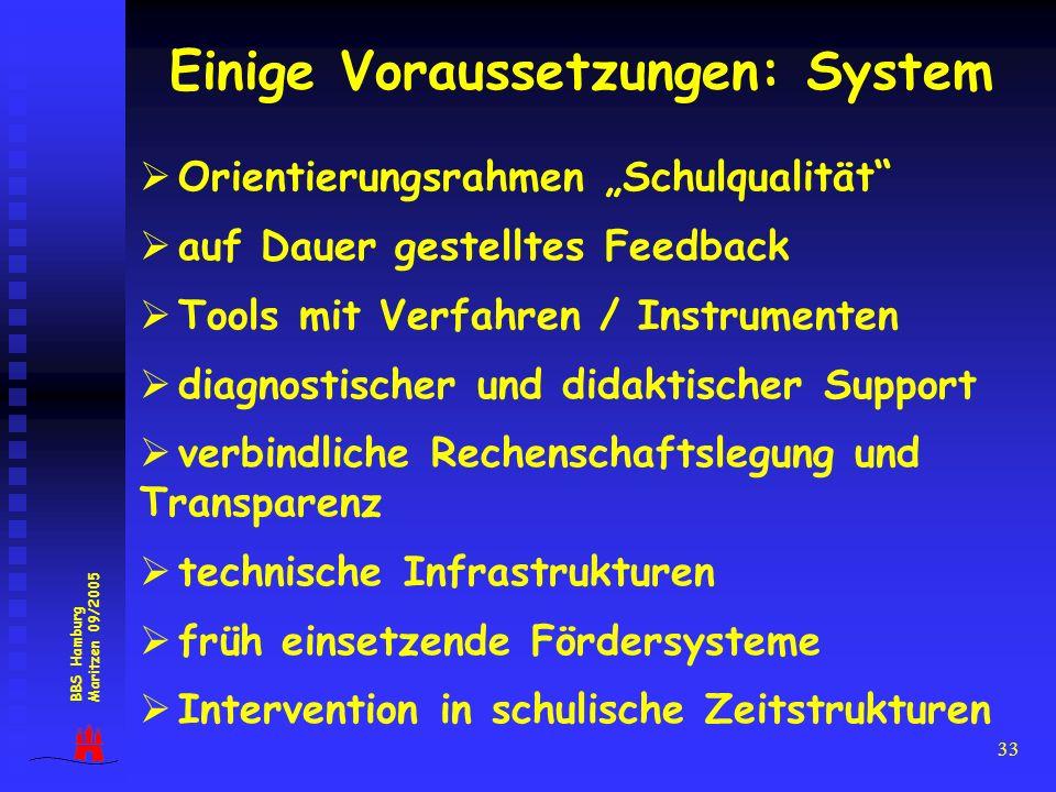 33 Einige Voraussetzungen: System Orientierungsrahmen Schulqualität auf Dauer gestelltes Feedback Tools mit Verfahren / Instrumenten diagnostischer un