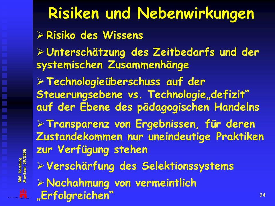 34 Risiken und Nebenwirkungen Risiko des Wissens Unterschätzung des Zeitbedarfs und der systemischen Zusammenhänge Technologieüberschuss auf der Steue