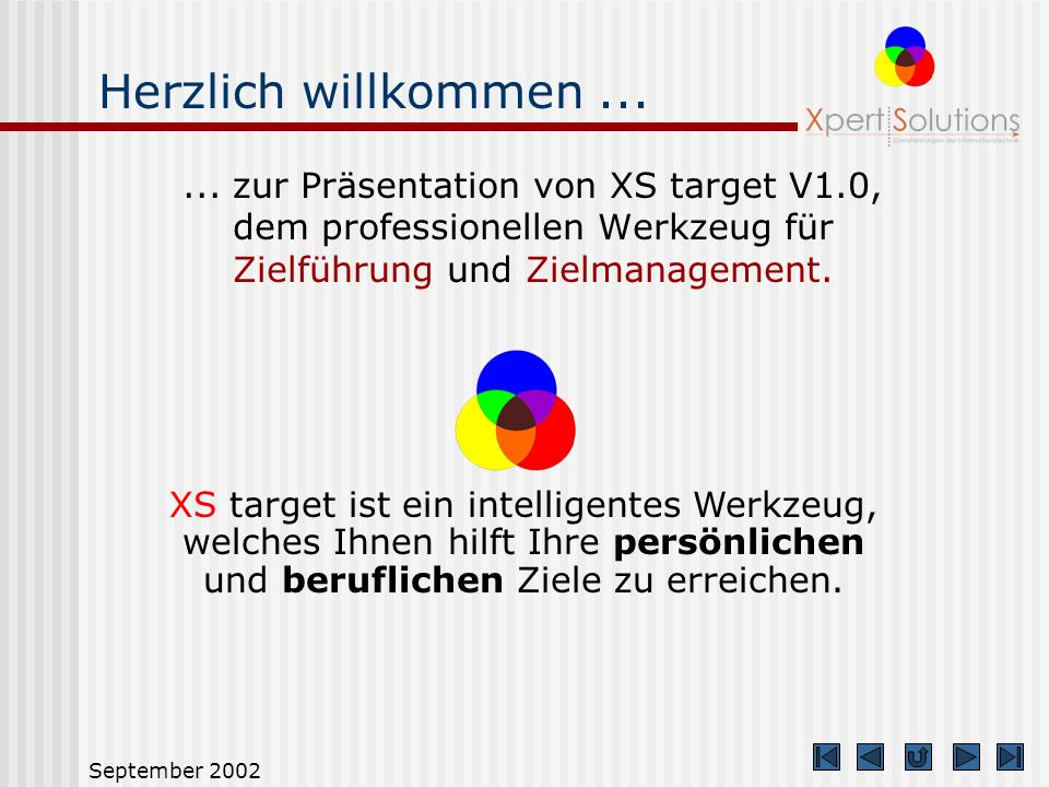 September 2002 Ziele spezifizieren Ein Ziel ist eine Vorstellung von etwas, was man erreichen will.