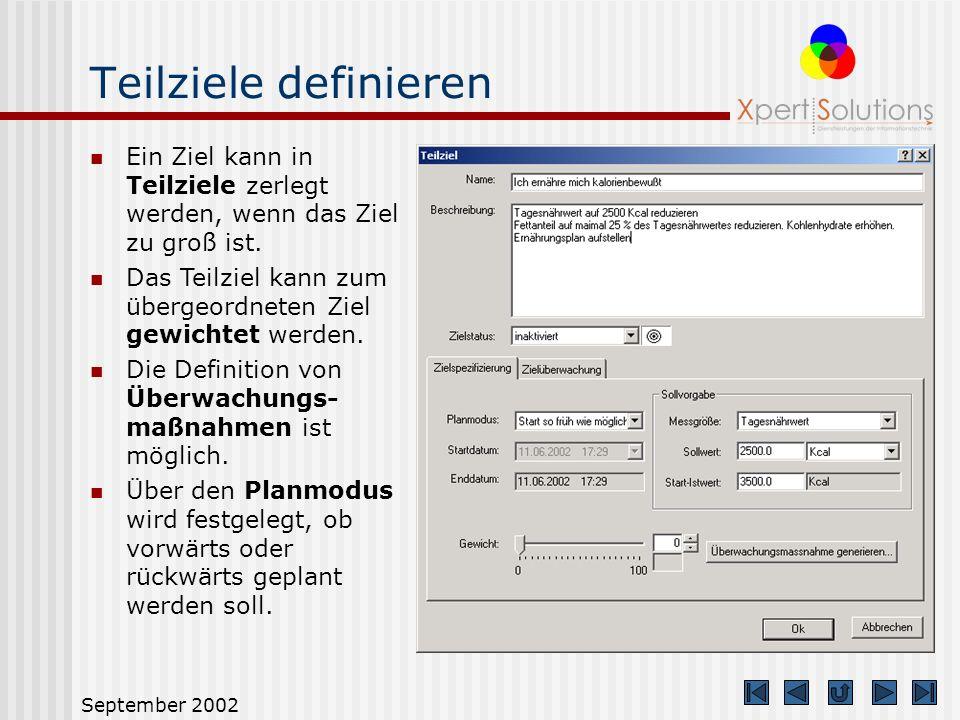 September 2002 Maßnahmenplan erstellen Über den Maßnahmenplan geben Sie den Weg an, wie Sie Ihr Ziel erreichen wollen. Sie können Ziele in Teilziele z