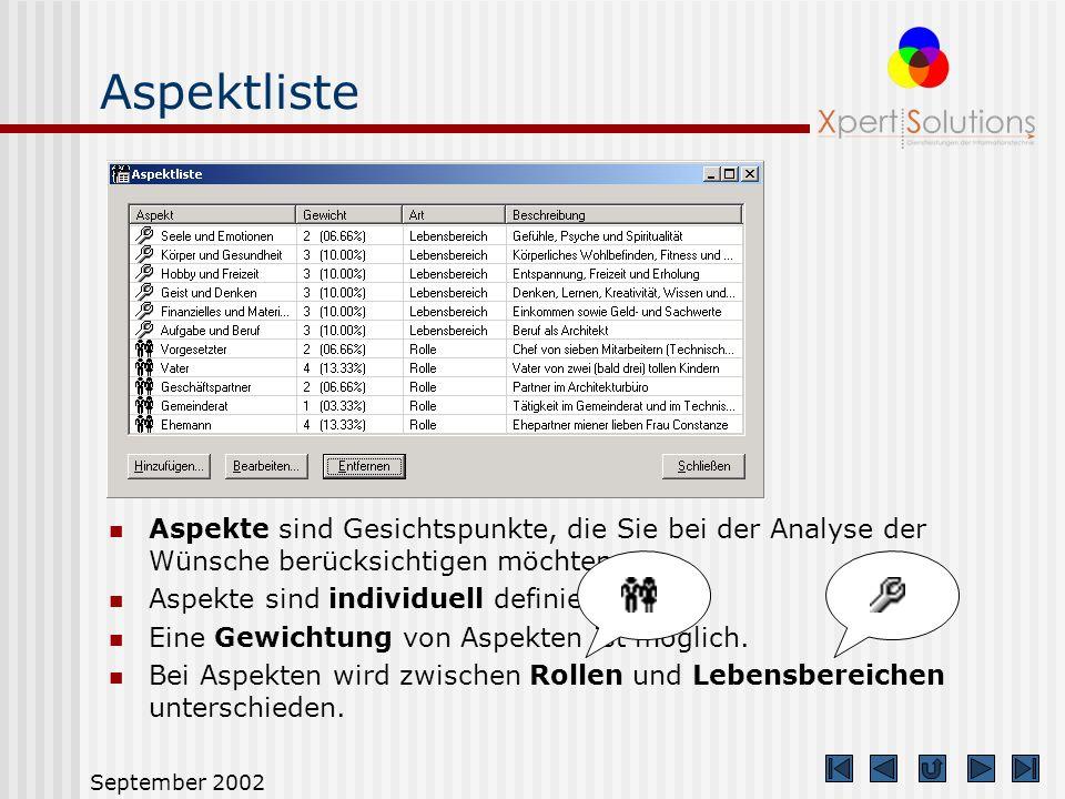 September 2002 Standardmodus Der Standardmodus dient dem mit XS target vertrauten Anwender. Es sind alle Funktionen des Einsteigermodus verwendbar. Zu