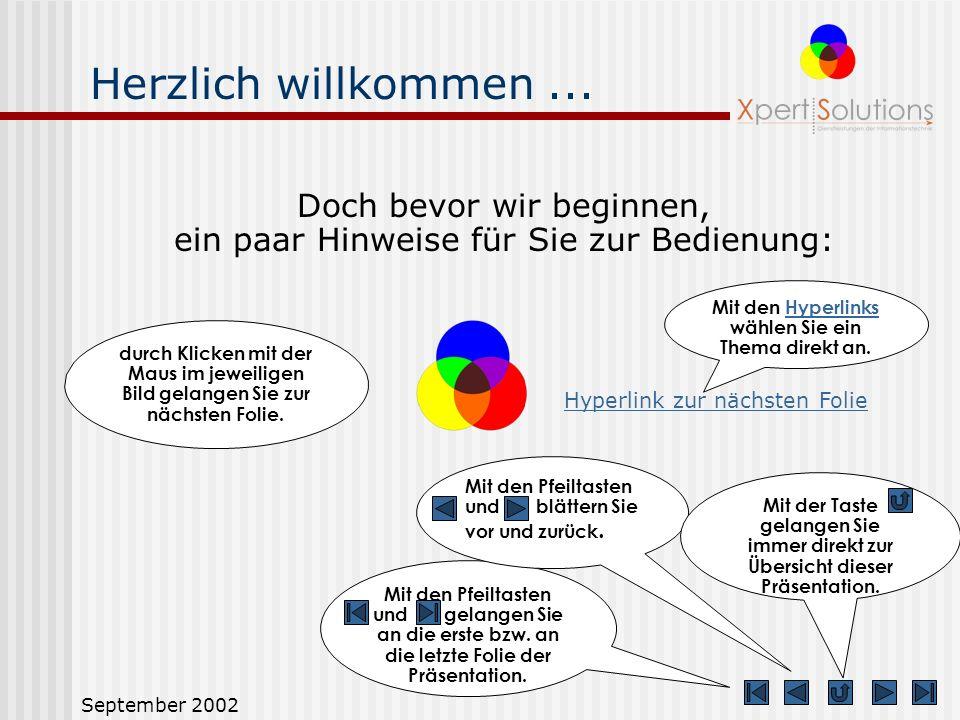September 2002 Herzlich willkommen...... zur Präsentation von XS target V1.0, dem professionellen Werkzeug für Zielführung und Zielmanagement. XS targ