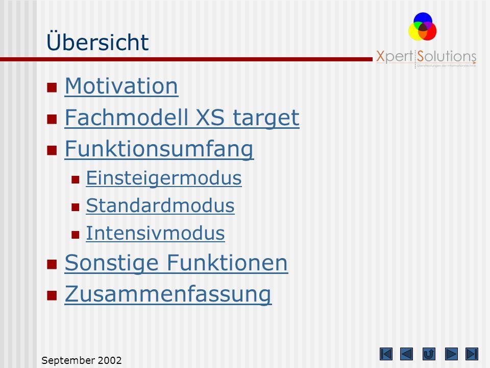 September 2002 Übersicht Motivation Fachmodell XS target Funktionsumfang Einsteigermodus Standardmodus Intensivmodus Sonstige Funktionen Zusammenfassung