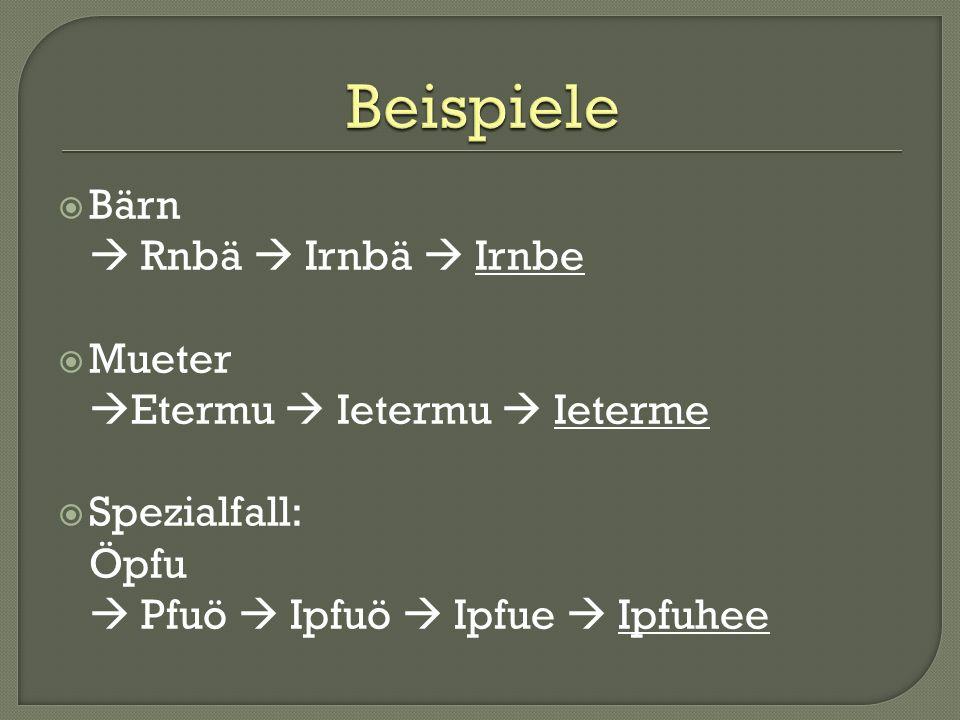 Bärn Rnbä Irnbä Irnbe Mueter Etermu Ietermu Ieterme Spezialfall: Öpfu Pfuö Ipfuö Ipfue Ipfuhee