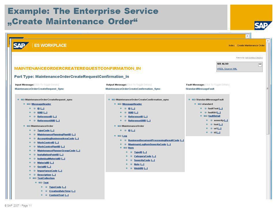 © SAP 2007 / Page 11 Example: The Enterprise Service Create Maintenance Order