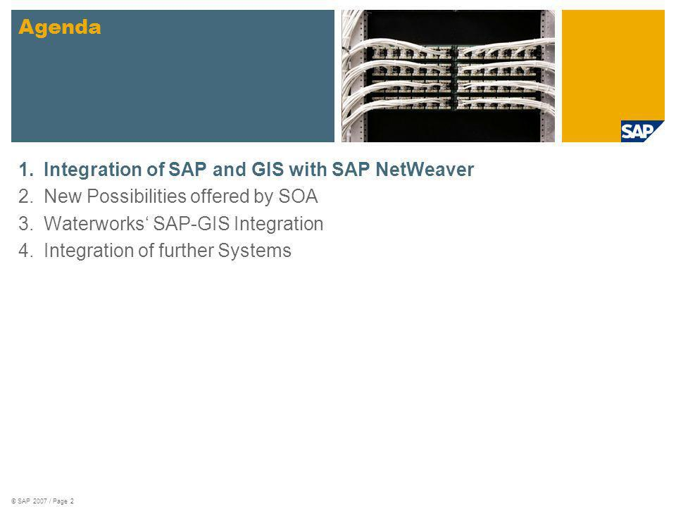 © SAP 2007 / Page 2 1.Integration of SAP and GIS with SAP NetWeaver 2.New Possibilities offered by SOA 3.Waterworks SAP-GIS Integration 4.Integration