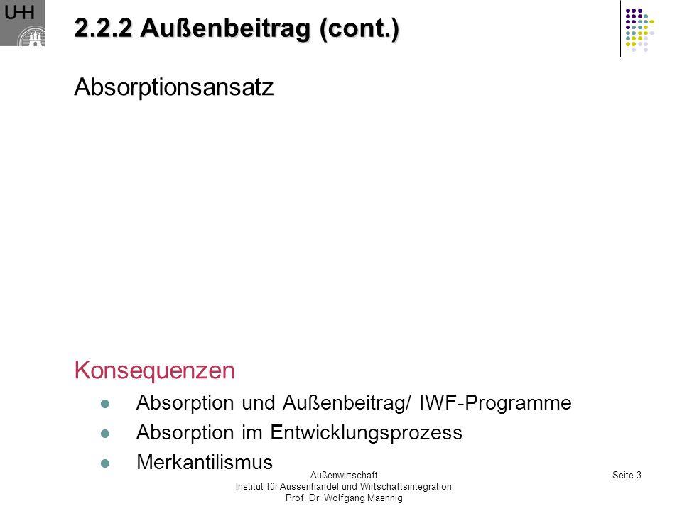 Außenwirtschaft Institut für Aussenhandel und Wirtschaftsintegration Prof. Dr. Wolfgang Maennig Seite 3 2.2.2 Außenbeitrag (cont.) Absorptionsansatz K