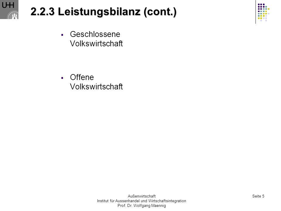 Außenwirtschaft Institut für Aussenhandel und Wirtschaftsintegration Prof. Dr. Wolfgang Maennig Seite 5 2.2.3 Leistungsbilanz (cont.) Geschlossene Vol