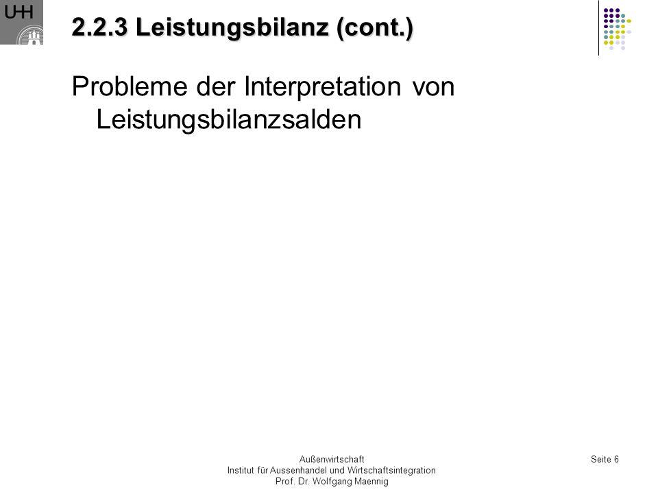 Außenwirtschaft Institut für Aussenhandel und Wirtschaftsintegration Prof. Dr. Wolfgang Maennig Seite 6 2.2.3 Leistungsbilanz (cont.) Probleme der Int