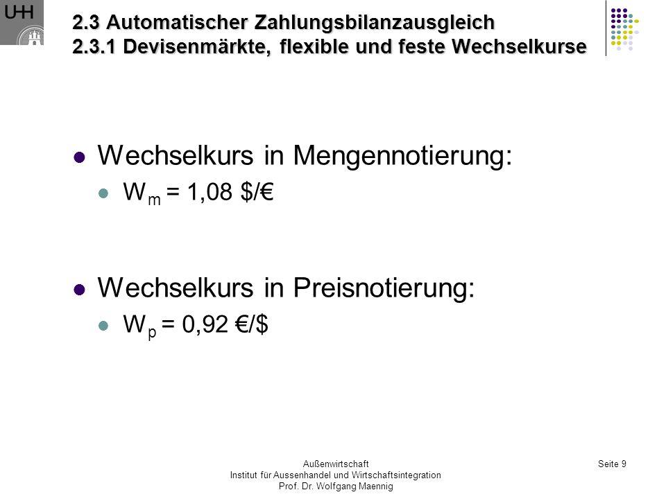 Außenwirtschaft Institut für Aussenhandel und Wirtschaftsintegration Prof. Dr. Wolfgang Maennig Seite 9 2.3 Automatischer Zahlungsbilanzausgleich 2.3.