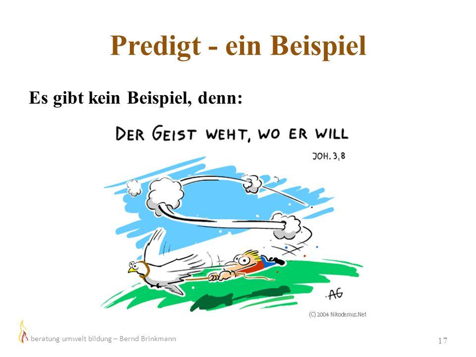 Predigt - ein Beispiel 17 Es gibt kein Beispiel, denn: beratung umwelt bildung – Bernd Brinkmann