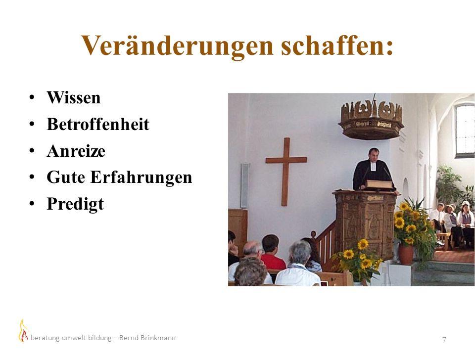Veränderungen schaffen: 7 Wissen Betroffenheit Anreize Gute Erfahrungen Predigt beratung umwelt bildung – Bernd Brinkmann
