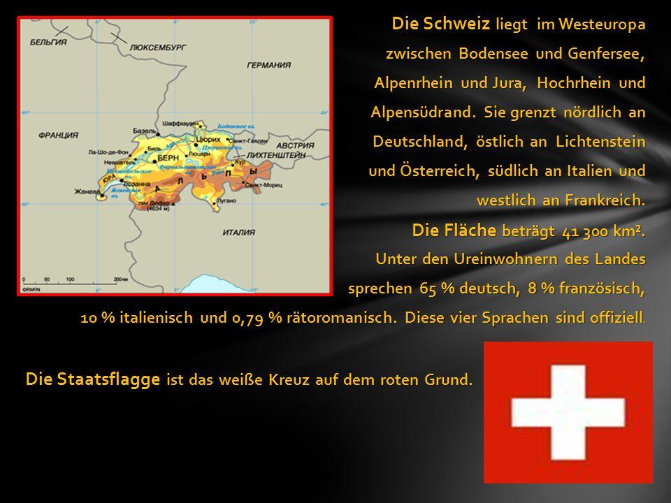 Die Schweiz liegt im Westeuropa Die Schweiz liegt im Westeuropa zwischen Bodensee und Genfersee, Alpenrhein und Jura, Hochrhein und Alpensüdrand.
