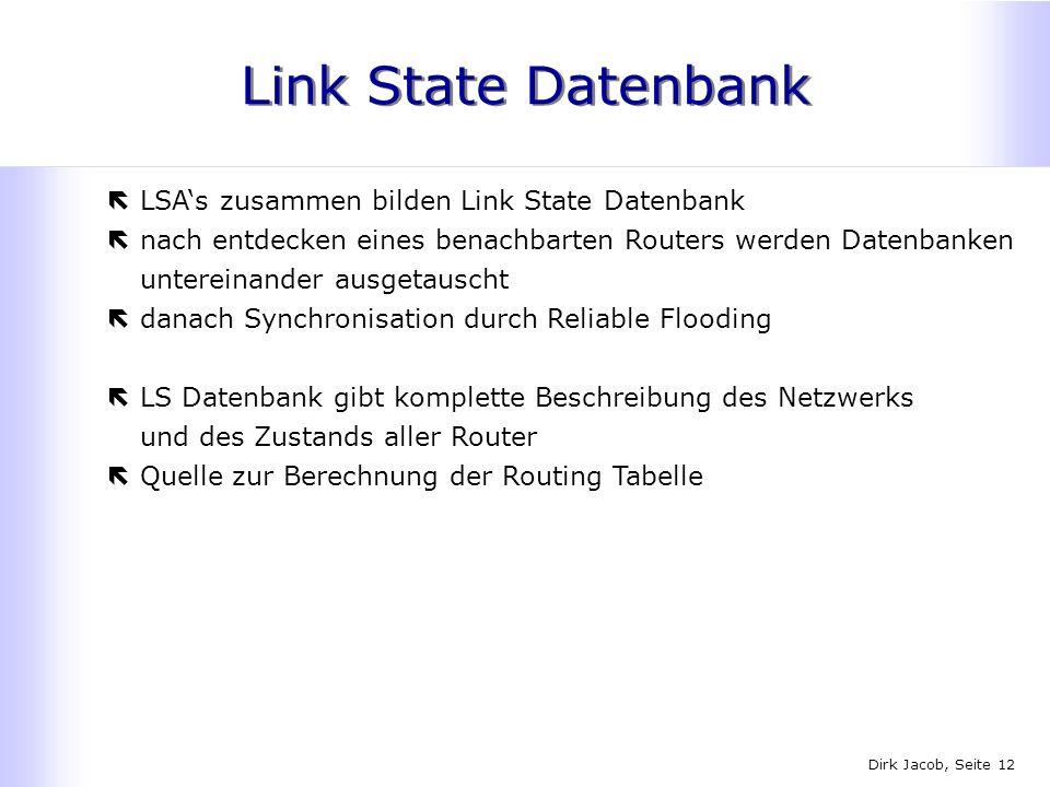 Dirk Jacob, Seite 12 Link State Datenbank ëLSAs zusammen bilden Link State Datenbank ënach entdecken eines benachbarten Routers werden Datenbanken unt