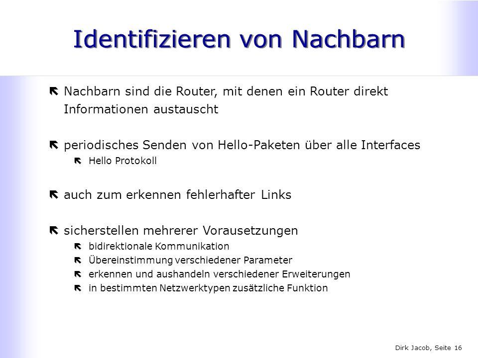 Dirk Jacob, Seite 16 Identifizieren von Nachbarn ëNachbarn sind die Router, mit denen ein Router direkt Informationen austauscht ëperiodisches Senden