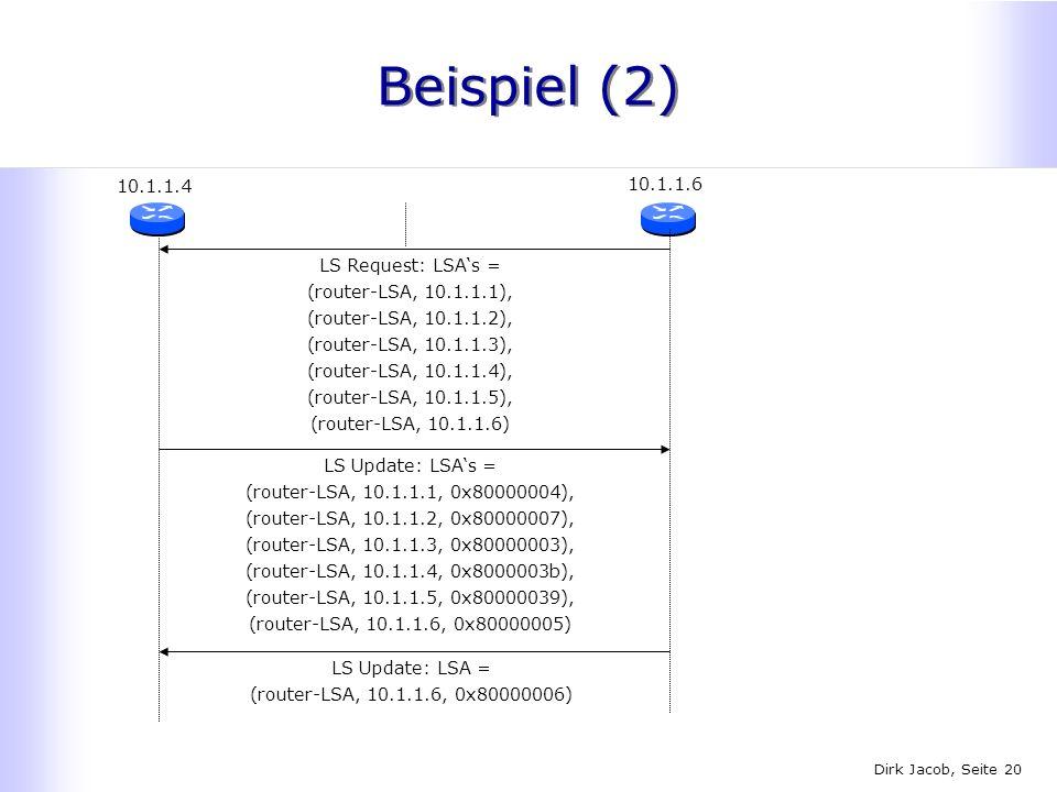 Dirk Jacob, Seite 20 Beispiel (2) 10.1.1.4 10.1.1.6 LS Update: LSAs = (router-LSA, 10.1.1.1, 0x80000004), (router-LSA, 10.1.1.2, 0x80000007), (router-