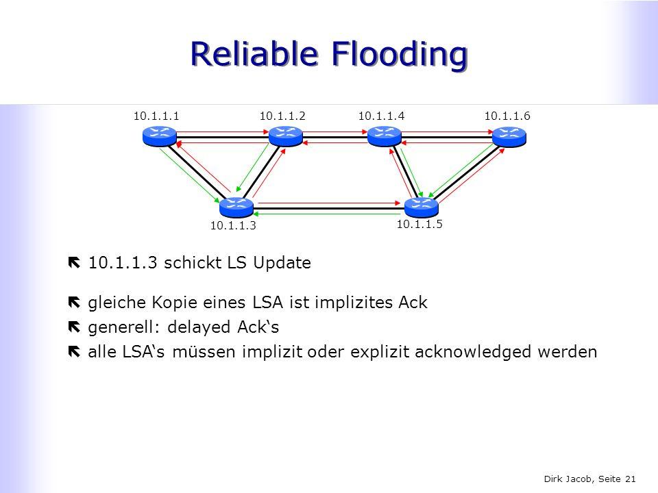 Dirk Jacob, Seite 21 Reliable Flooding ë10.1.1.3 schickt LS Update 10.1.1.110.1.1.410.1.1.2 10.1.1.3 10.1.1.6 10.1.1.5 ëgleiche Kopie eines LSA ist im