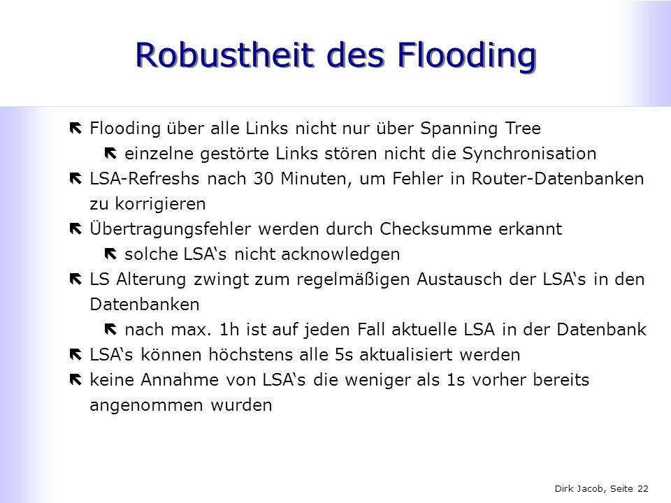 Dirk Jacob, Seite 22 Robustheit des Flooding ëFlooding über alle Links nicht nur über Spanning Tree ëeinzelne gestörte Links stören nicht die Synchron