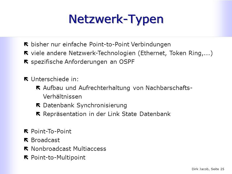Dirk Jacob, Seite 25 Netzwerk-Typen ëbisher nur einfache Point-to-Point Verbindungen ëviele andere Netzwerk-Technologien (Ethernet, Token Ring,...) ës