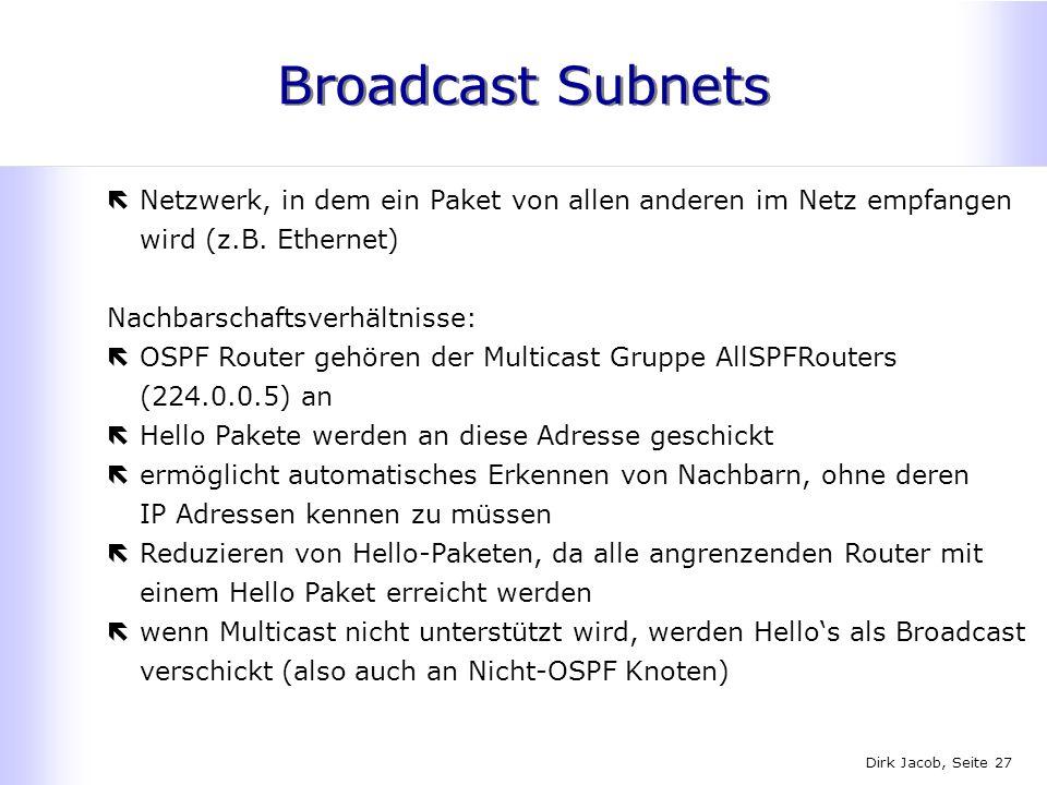 Dirk Jacob, Seite 27 Broadcast Subnets ëNetzwerk, in dem ein Paket von allen anderen im Netz empfangen wird (z.B. Ethernet) Nachbarschaftsverhältnisse
