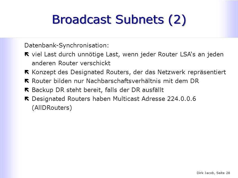 Dirk Jacob, Seite 28 Broadcast Subnets (2) Datenbank-Synchronisation: ëviel Last durch unnötige Last, wenn jeder Router LSAs an jeden anderen Router v