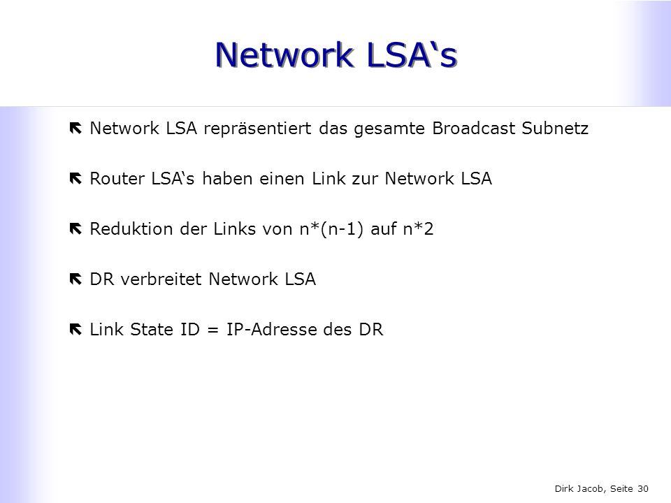 Dirk Jacob, Seite 30 Network LSAs ëNetwork LSA repräsentiert das gesamte Broadcast Subnetz ëRouter LSAs haben einen Link zur Network LSA ëReduktion de