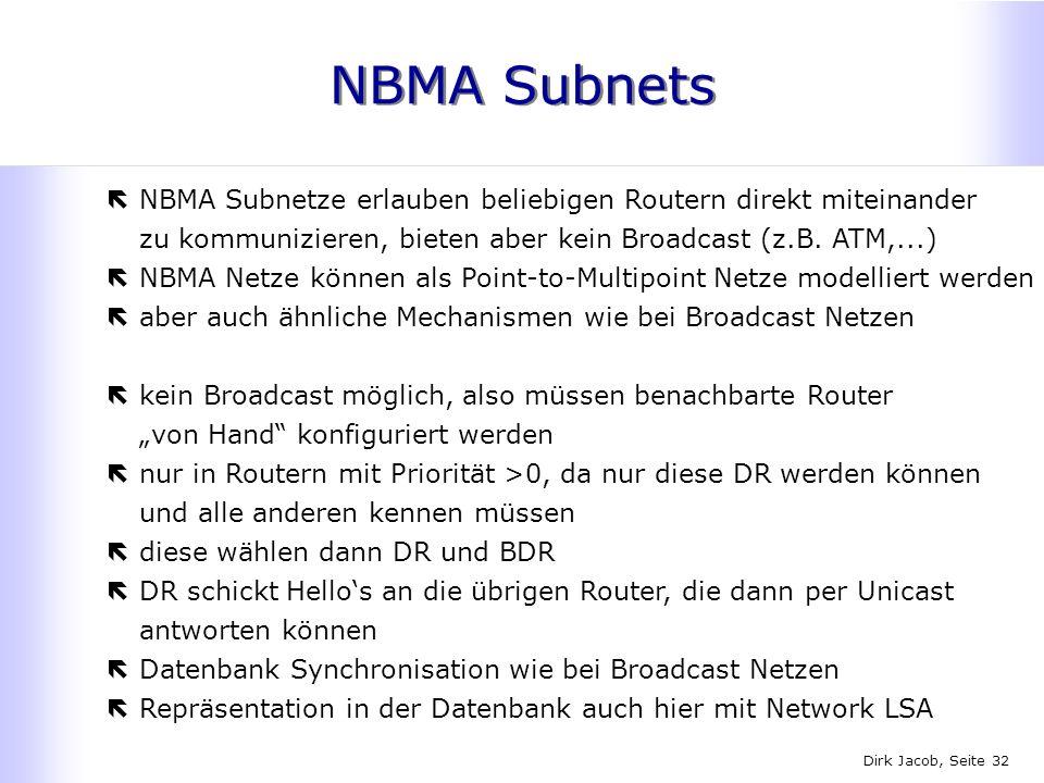 Dirk Jacob, Seite 32 NBMA Subnets ëNBMA Subnetze erlauben beliebigen Routern direkt miteinander zu kommunizieren, bieten aber kein Broadcast (z.B. ATM