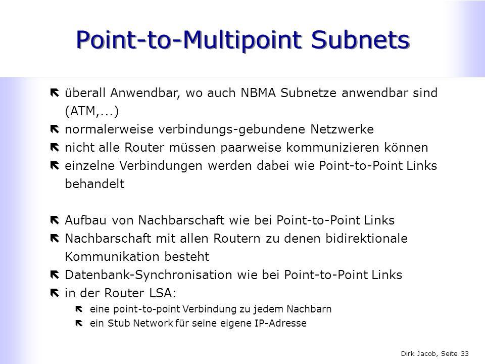 Dirk Jacob, Seite 33 Point-to-Multipoint Subnets ëüberall Anwendbar, wo auch NBMA Subnetze anwendbar sind (ATM,...) ënormalerweise verbindungs-gebunde