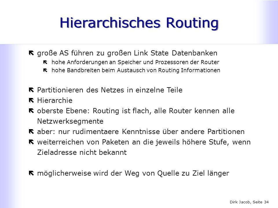 Dirk Jacob, Seite 34 Hierarchisches Routing ëgroße AS führen zu großen Link State Datenbanken ëhohe Anforderungen an Speicher und Prozessoren der Rout