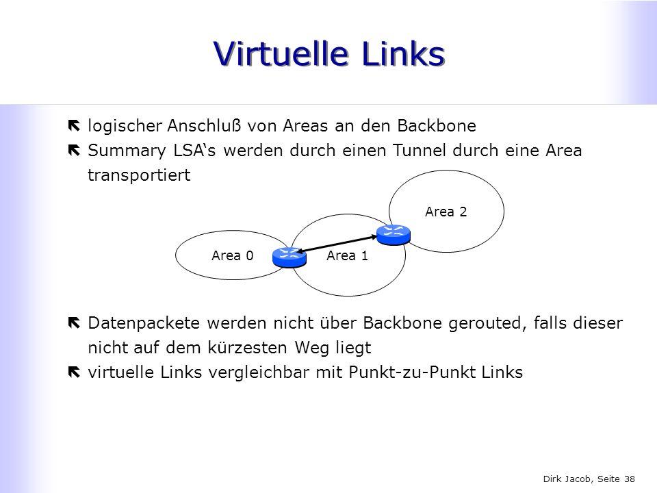 Dirk Jacob, Seite 38 Virtuelle Links ëlogischer Anschluß von Areas an den Backbone ëSummary LSAs werden durch einen Tunnel durch eine Area transportie
