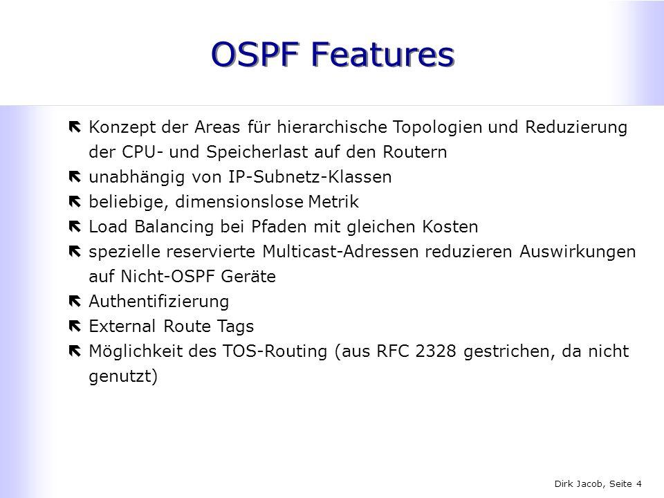 Dirk Jacob, Seite 4 OSPF Features ëKonzept der Areas für hierarchische Topologien und Reduzierung der CPU- und Speicherlast auf den Routern ëunabhängi