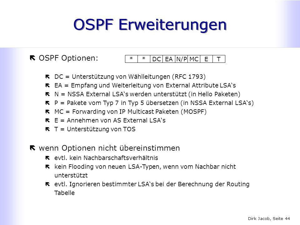 Dirk Jacob, Seite 44 OSPF Erweiterungen *DCEAN/PMCET* ëOSPF Optionen: ëDC = Unterstützung von Wählleitungen (RFC 1793) ëEA = Empfang und Weiterleitung