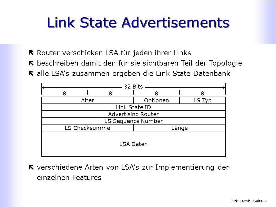 Dirk Jacob, Seite 7 Link State Advertisements ëRouter verschicken LSA für jeden ihrer Links ëbeschreiben damit den für sie sichtbaren Teil der Topolog